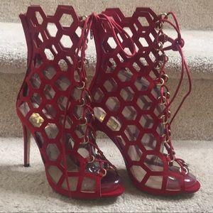 Fahrenheit Suede Red Heel Boot Sandler's Size 8